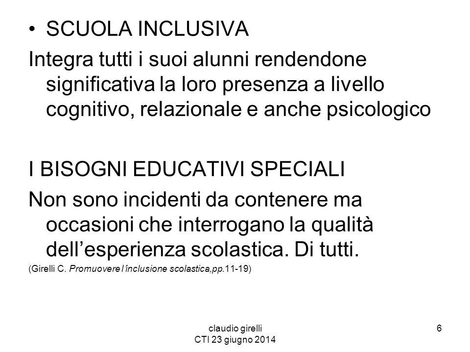 claudio girelli CTI 23 giugno 2014 SCUOLA INCLUSIVA Integra tutti i suoi alunni rendendone significativa la loro presenza a livello cognitivo, relazio