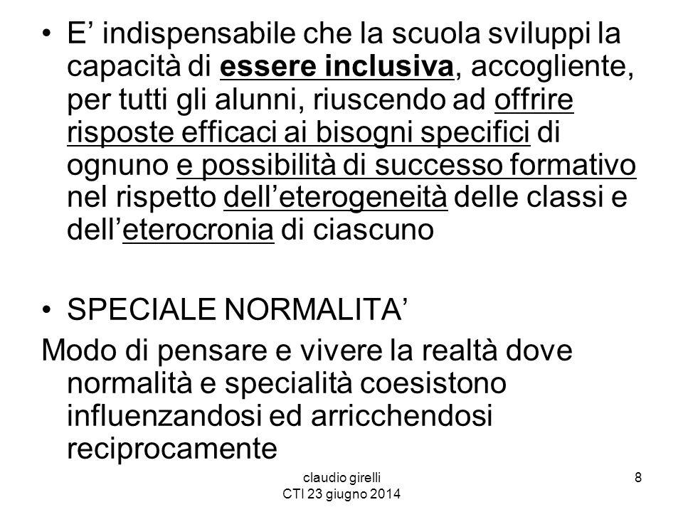 claudio girelli CTI 23 giugno 2014 DALL'INSEGNAMENTO ALL'APPRENDIMENTO MODELLO DIDATTICO APPRENDIMENTO NON 'IMPARAMENTO' DISCIPLINE NON MATERIE ESPERIENZA SCOLASTICA COME ESPERIENZA GLOBALE: COGNITIVA, AFFETTIVA, RELAZIONALE (Girelli C., Promuovere l'inclusione scolastica,pp.103-122) 39