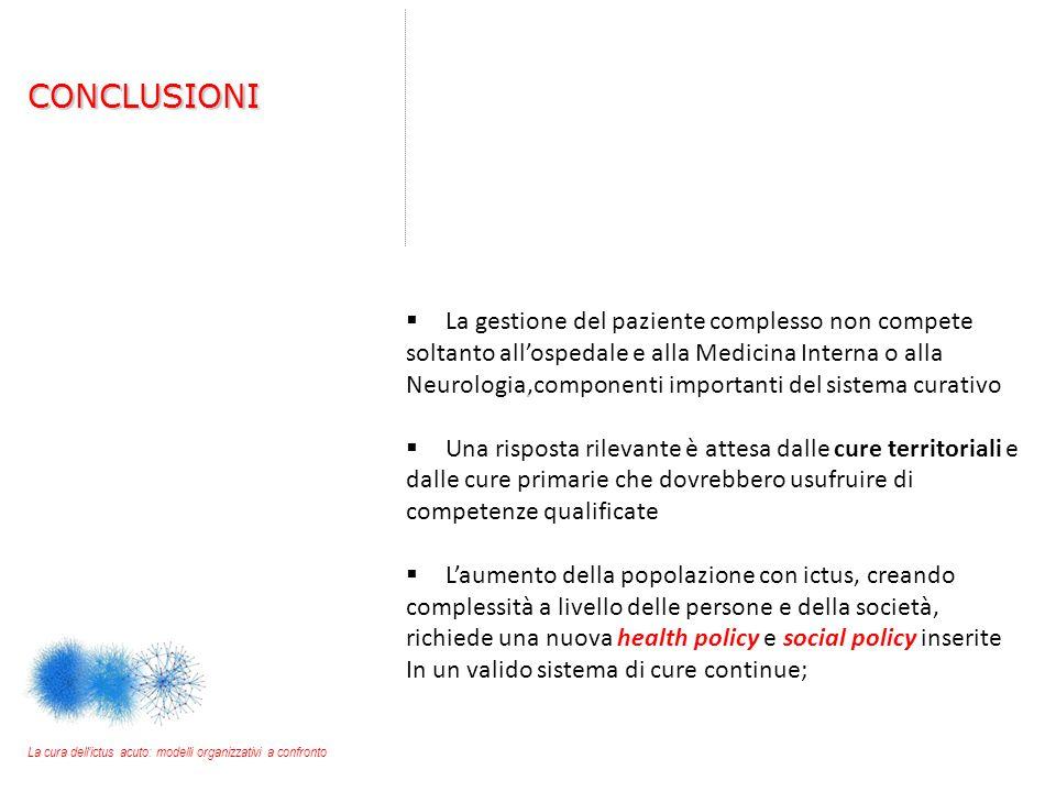  La gestione del paziente complesso non compete soltanto all'ospedale e alla Medicina Interna o alla Neurologia,componenti importanti del sistema cur