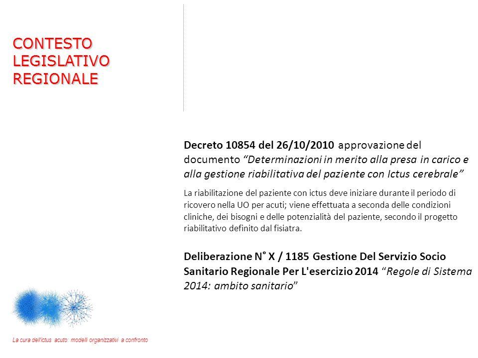 """Decreto 10854 del 26/10/2010 approvazione del documento """"Determinazioni in merito alla presa in carico e alla gestione riabilitativa del paziente con"""