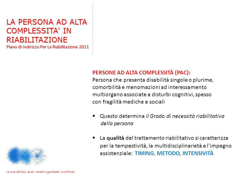 PERSONE AD ALTA COMPLESSITÀ (PAC): Persona che presenta disabilità singole o plurime, comorbilità e menomazioni ad interessamento multiorgano associat