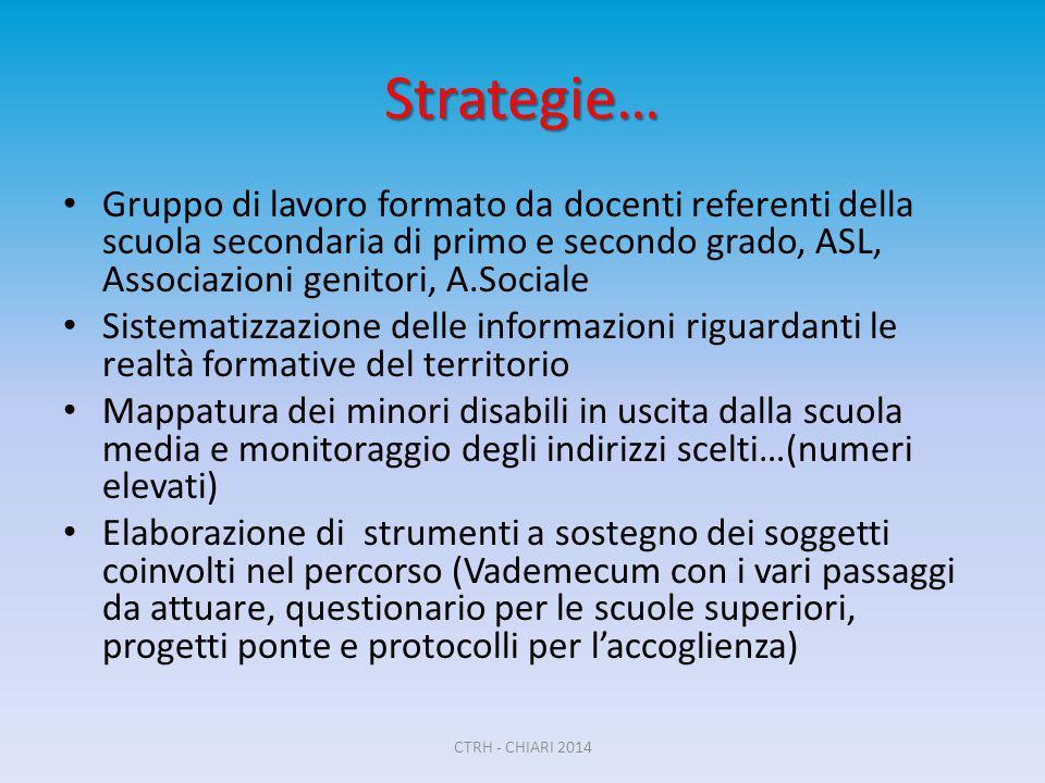 Strategie… Gruppo di lavoro formato da docenti referenti della scuola secondaria di primo e secondo grado, ASL, Associazioni genitori, A.Sociale Siste