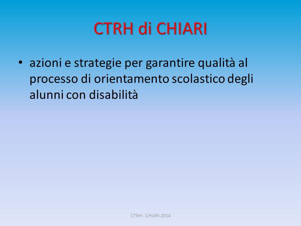 CTRH di CHIARI azioni e strategie per garantire qualità al processo di orientamento scolastico degli alunni con disabilità CTRH - CHIARI 2014