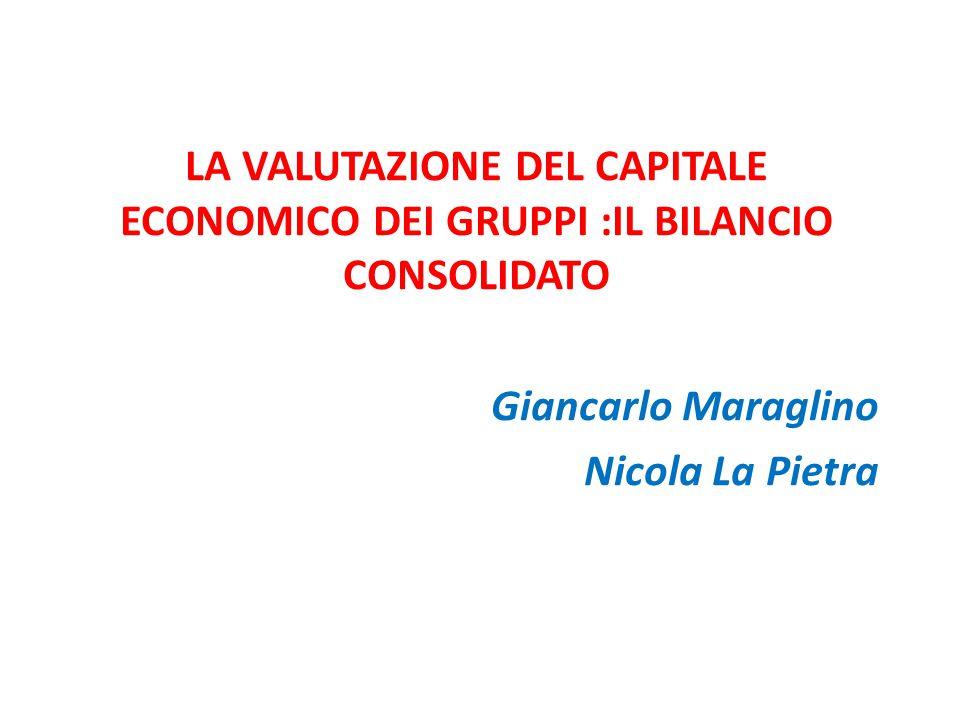 LA VALUTAZIONE DEL CAPITALE ECONOMICO DEI GRUPPI :IL BILANCIO CONSOLIDATO Giancarlo Maraglino Nicola La Pietra