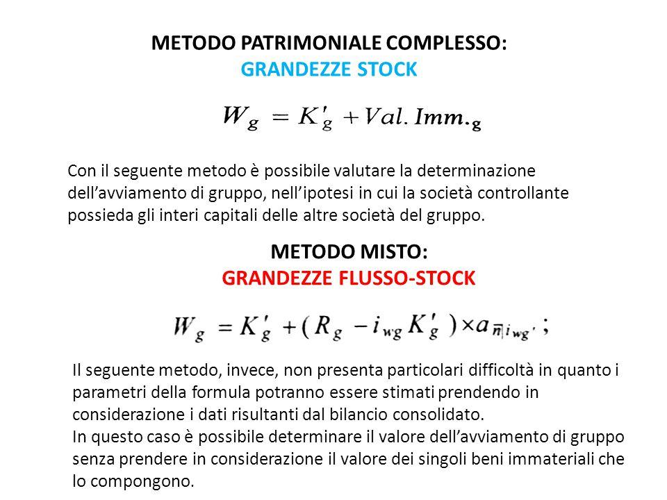 METODO PATRIMONIALE COMPLESSO: GRANDEZZE STOCK Con il seguente metodo è possibile valutare la determinazione dell'avviamento di gruppo, nell'ipotesi in cui la società controllante possieda gli interi capitali delle altre società del gruppo.