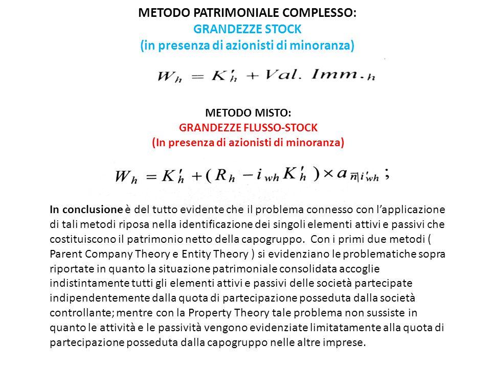 METODO PATRIMONIALE COMPLESSO: GRANDEZZE STOCK (in presenza di azionisti di minoranza) METODO MISTO: GRANDEZZE FLUSSO-STOCK (In presenza di azionisti