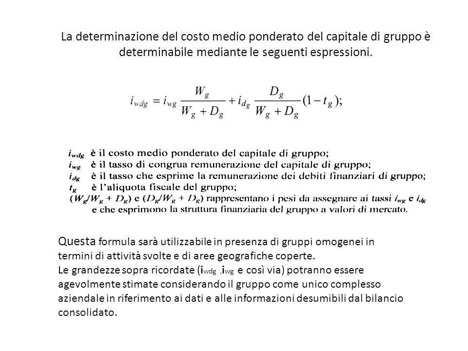 La determinazione del costo medio ponderato del capitale di gruppo è determinabile mediante le seguenti espressioni.
