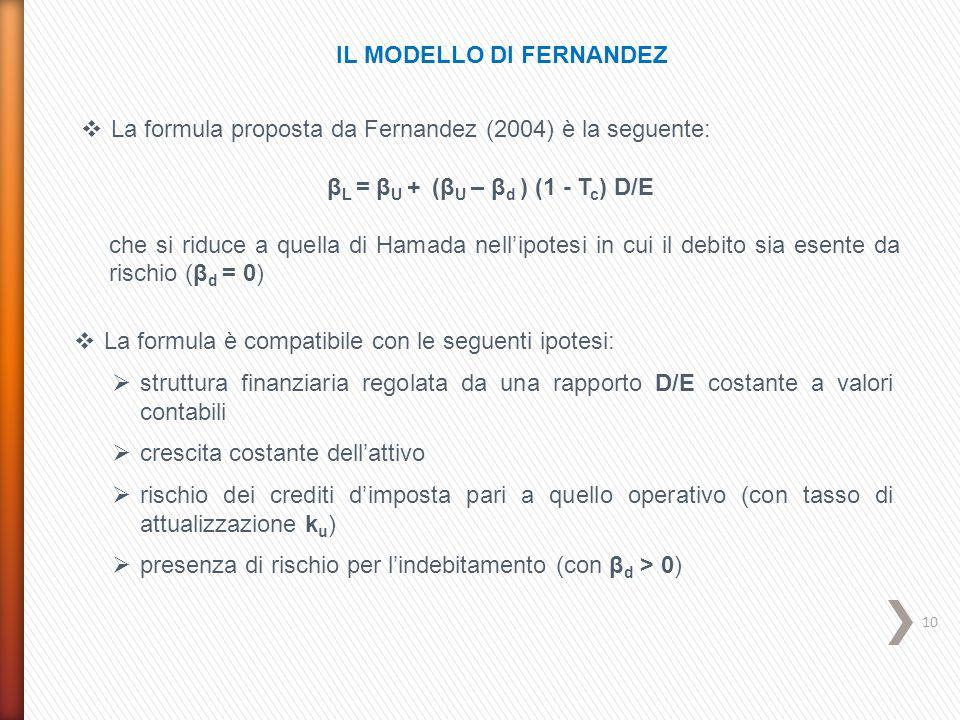 10 IL MODELLO DI FERNANDEZ  La formula proposta da Fernandez (2004) è la seguente: β L = β U + (β U – β d ) (1 - T c ) D/E che si riduce a quella di
