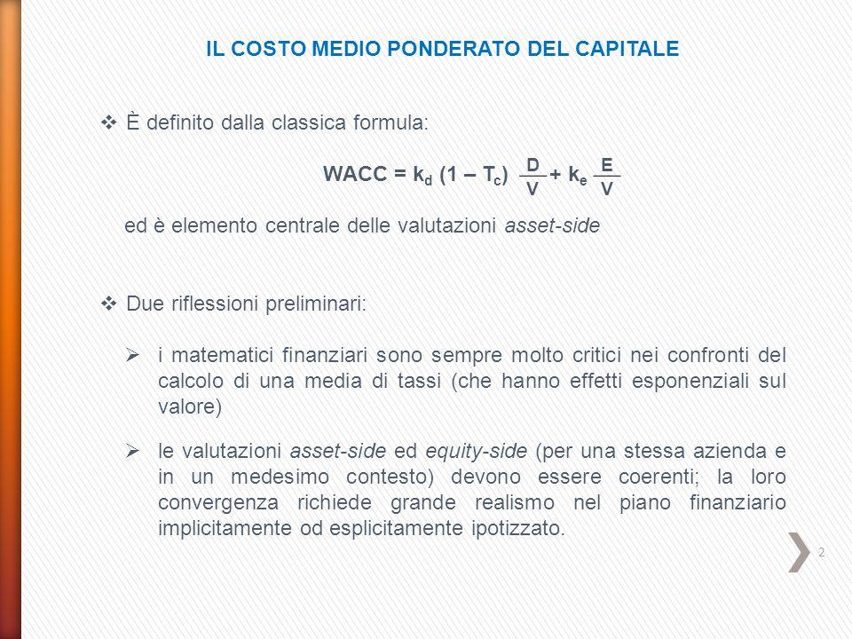 IL COSTO MEDIO PONDERATO DEL CAPITALE  È definito dalla classica formula: WACC = k d (1 – T c ) + k e ed è elemento centrale delle valutazioni asset-