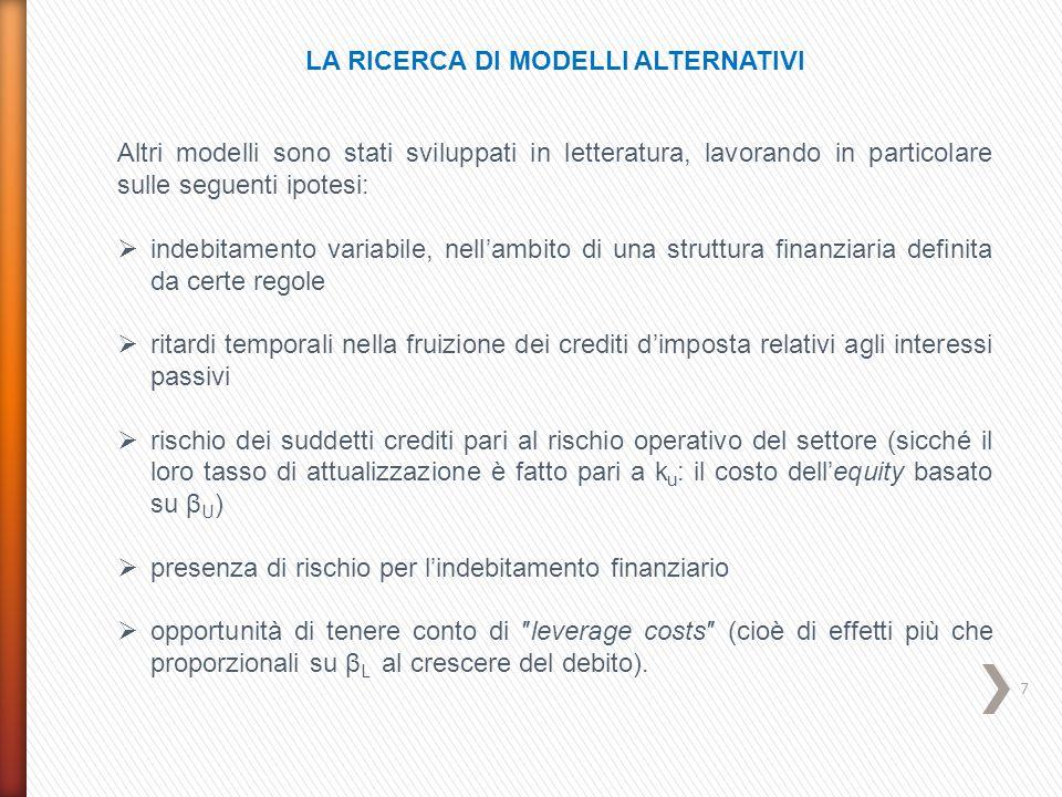 7 LA RICERCA DI MODELLI ALTERNATIVI Altri modelli sono stati sviluppati in letteratura, lavorando in particolare sulle seguenti ipotesi:  indebitamen