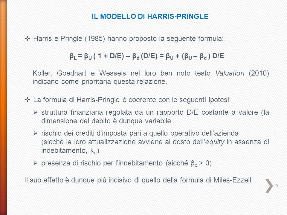 10 IL MODELLO DI FERNANDEZ  La formula proposta da Fernandez (2004) è la seguente: β L = β U + (β U – β d ) (1 - T c ) D/E che si riduce a quella di Hamada nell'ipotesi in cui il debito sia esente da rischio (β d = 0)  La formula è compatibile con le seguenti ipotesi:  struttura finanziaria regolata da una rapporto D/E costante a valori contabili  crescita costante dell'attivo  rischio dei crediti d'imposta pari a quello operativo (con tasso di attualizzazione k u )  presenza di rischio per l'indebitamento (con β d > 0)