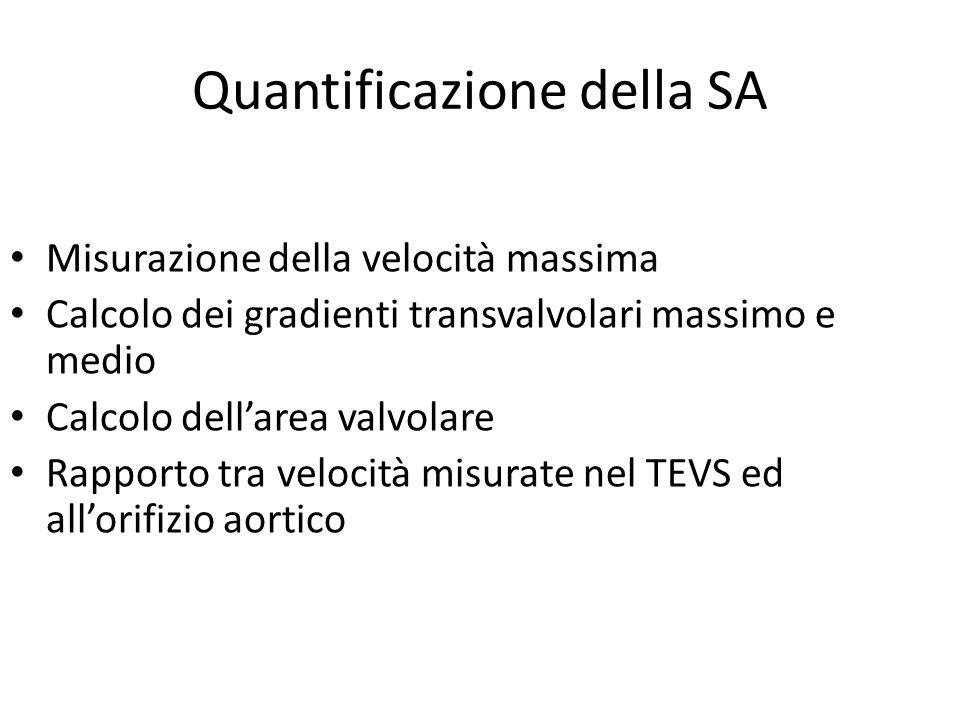 Quantificazione della SA Misurazione della velocità massima Calcolo dei gradienti transvalvolari massimo e medio Calcolo dell'area valvolare Rapporto