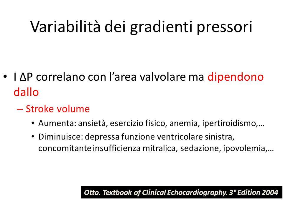 Variabilità dei gradienti pressori I ΔP correlano con l'area valvolare ma dipendono dallo – Stroke volume Aumenta: ansietà, esercizio fisico, anemia,