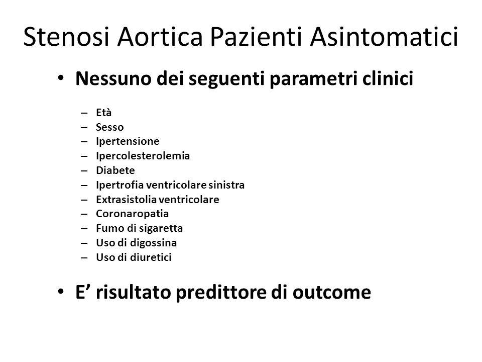 Stenosi Aortica Pazienti Asintomatici Nessuno dei seguenti parametri clinici – Età – Sesso – Ipertensione – Ipercolesterolemia – Diabete – Ipertrofia