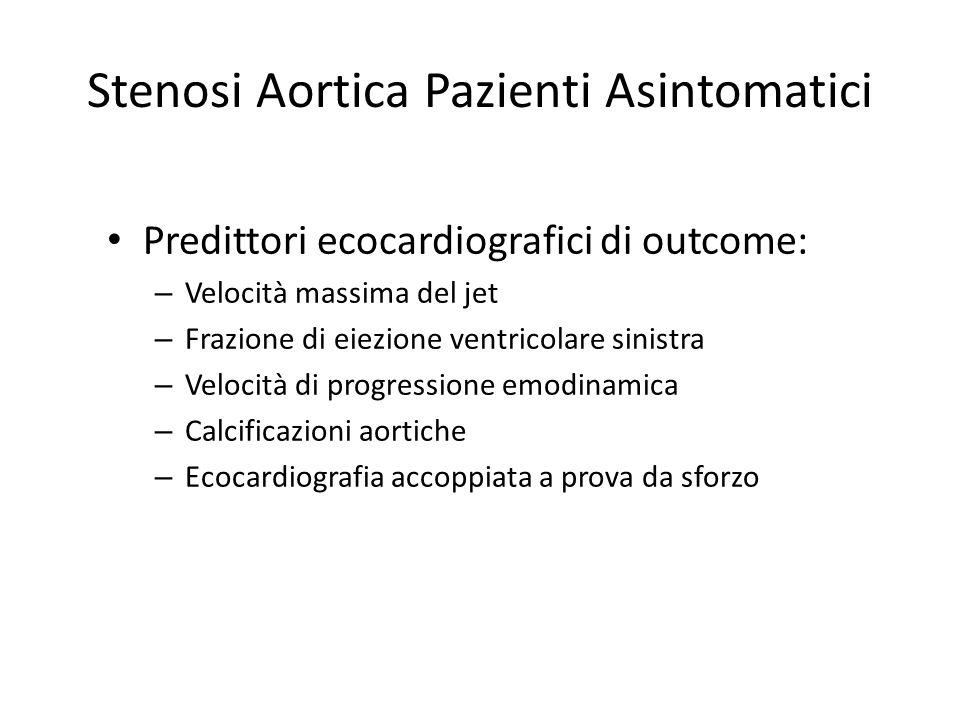Stenosi Aortica Pazienti Asintomatici Predittori ecocardiografici di outcome: – Velocità massima del jet – Frazione di eiezione ventricolare sinistra