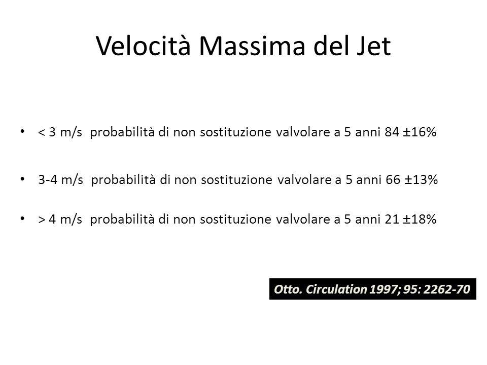 Velocità Massima del Jet < 3 m/s probabilità di non sostituzione valvolare a 5 anni 84 ±16% 3-4 m/s probabilità di non sostituzione valvolare a 5 anni
