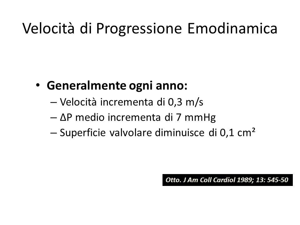 Velocità di Progressione Emodinamica Generalmente ogni anno: – Velocità incrementa di 0,3 m/s – ΔP medio incrementa di 7 mmHg – Superficie valvolare d