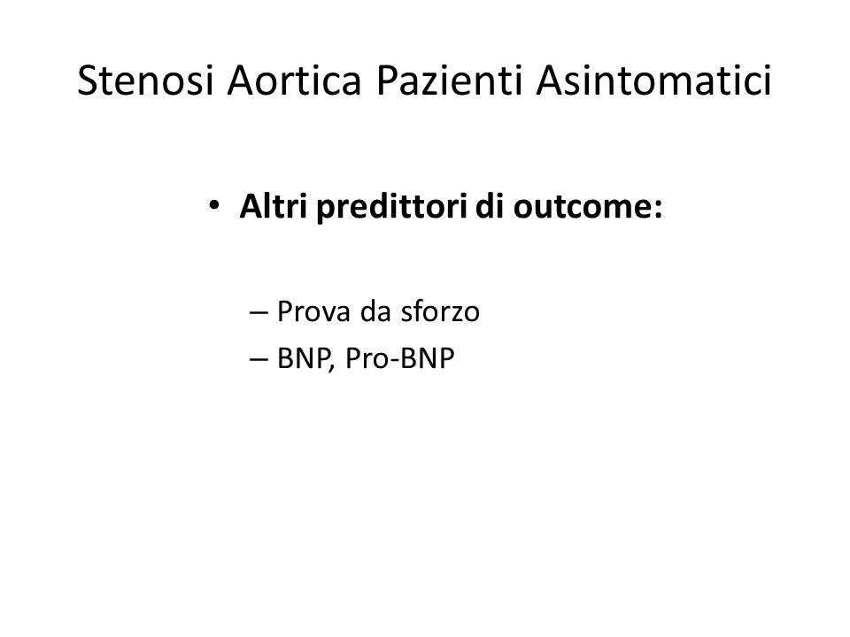 Stenosi Aortica Pazienti Asintomatici Altri predittori di outcome: – Prova da sforzo – BNP, Pro-BNP