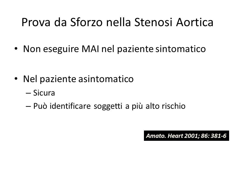 Prova da Sforzo nella Stenosi Aortica Non eseguire MAI nel paziente sintomatico Nel paziente asintomatico – Sicura – Può identificare soggetti a più a