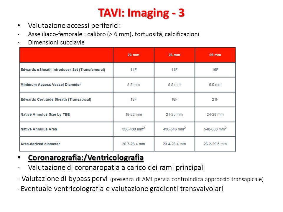 Valutazione accessi periferici: -Asse iliaco-femorale : calibro (> 6 mm), tortuosità, calcificazioni -Dimensioni succlavie Coronarografia:/Ventricolog