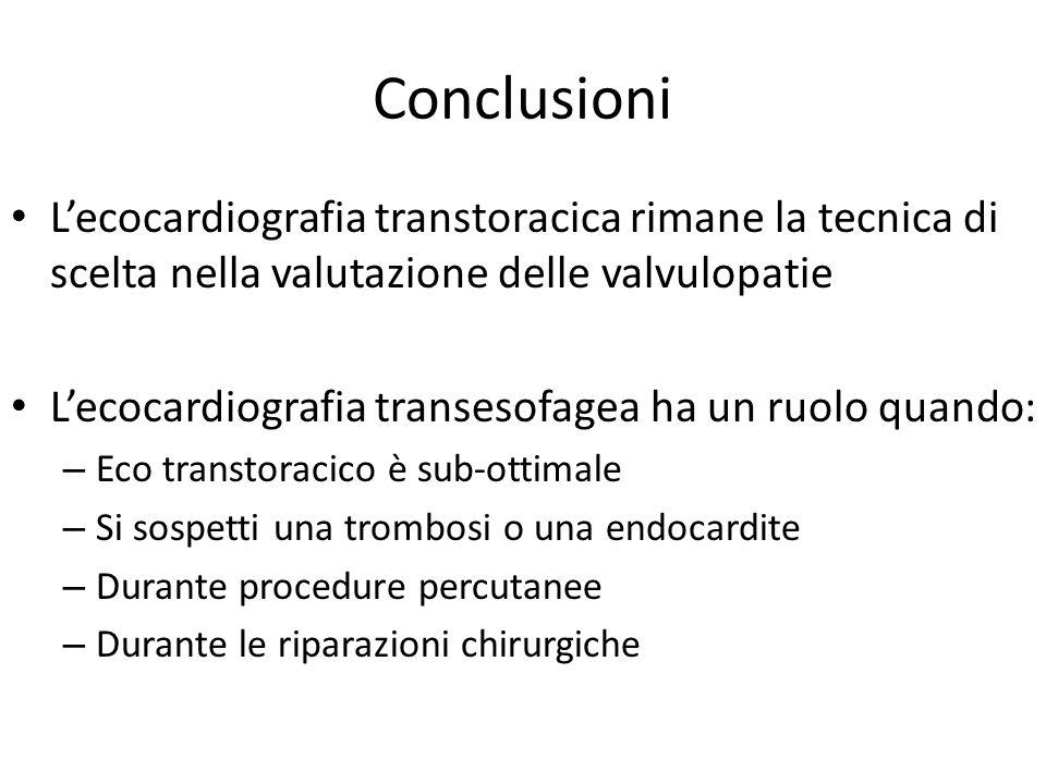 Conclusioni L'ecocardiografia transtoracica rimane la tecnica di scelta nella valutazione delle valvulopatie L'ecocardiografia transesofagea ha un ruo