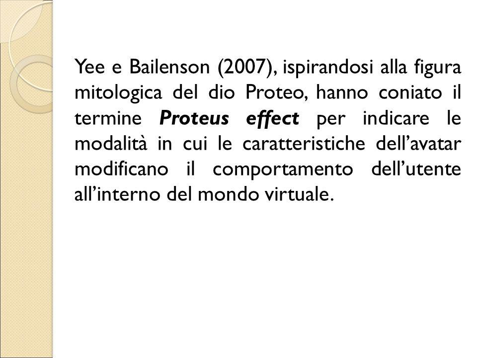 Yee e Bailenson (2007), ispirandosi alla figura mitologica del dio Proteo, hanno coniato il termine Proteus effect per indicare le modalità in cui le