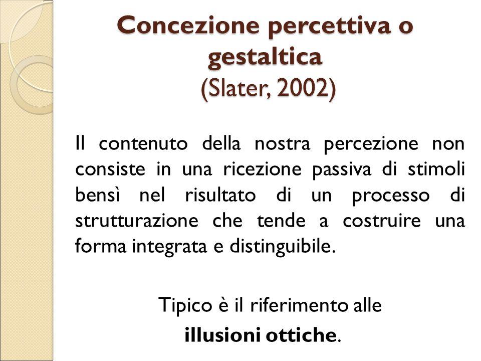 Concezione percettiva o gestaltica (Slater, 2002) Il contenuto della nostra percezione non consiste in una ricezione passiva di stimoli bensì nel risu