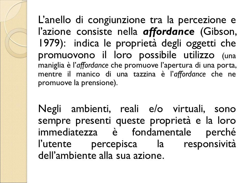 L'anello di congiunzione tra la percezione e l'azione consiste nella affordance (Gibson, 1979): indica le proprietà degli oggetti che promuovono il lo