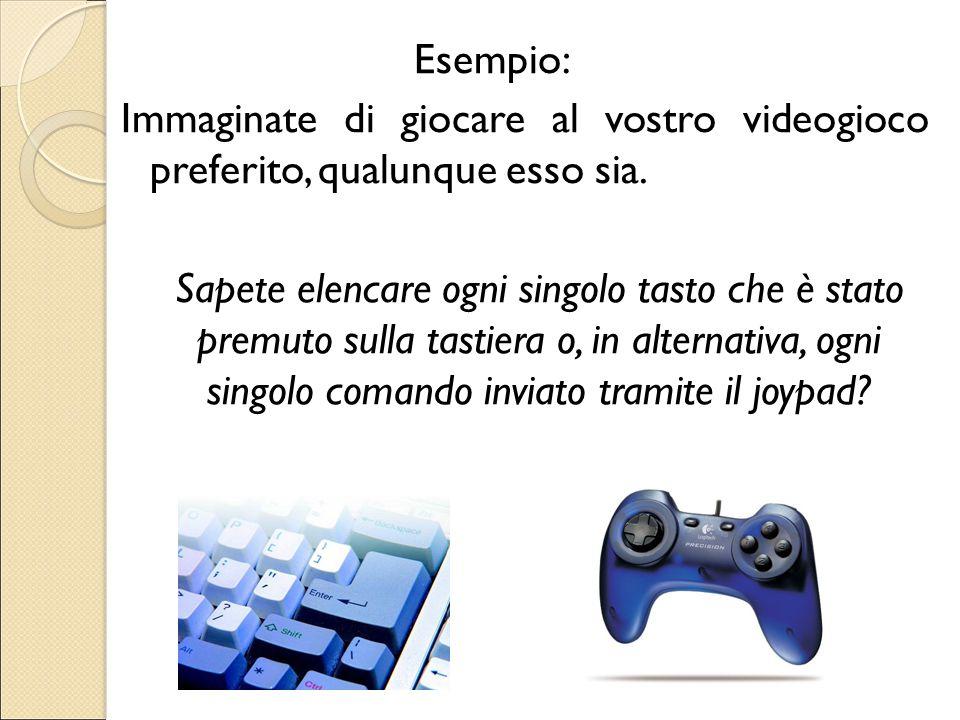 Esempio: Immaginate di giocare al vostro videogioco preferito, qualunque esso sia. Sapete elencare ogni singolo tasto che è stato premuto sulla tastie