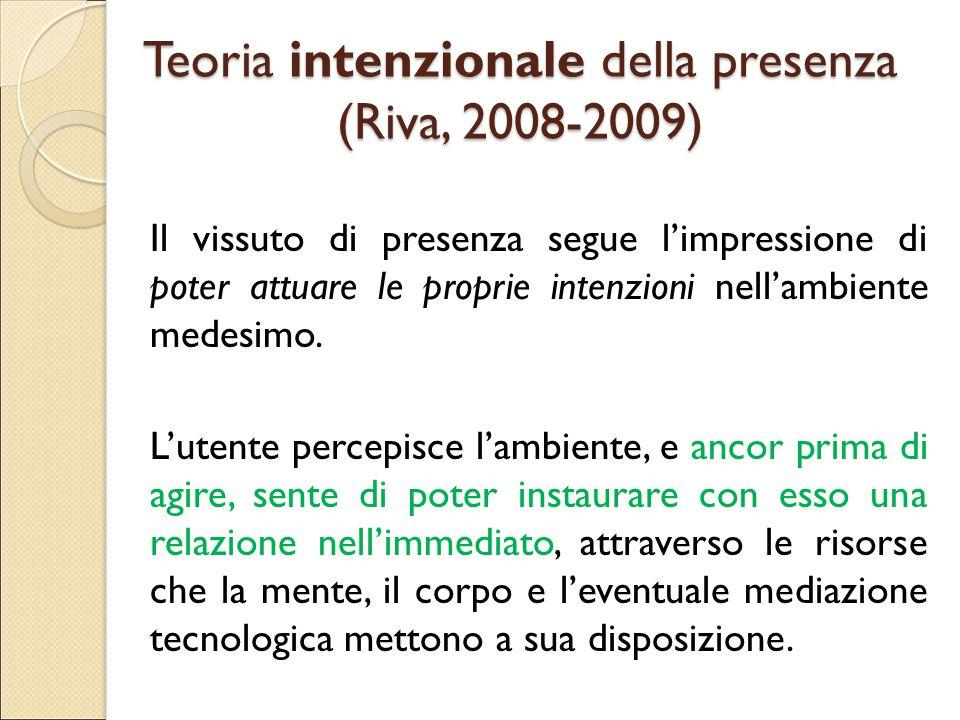 Teoria intenzionale della presenza (Riva, 2008-2009) Il vissuto di presenza segue l'impressione di poter attuare le proprie intenzioni nell'ambiente m