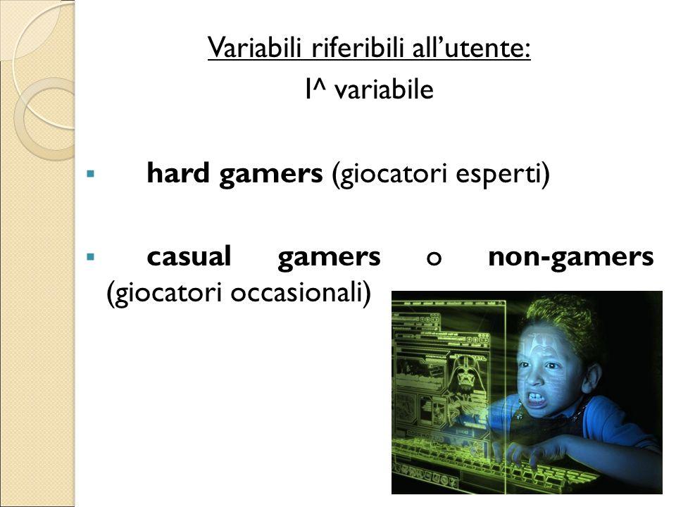 Variabili riferibili all'utente: I^ variabile  hard gamers (giocatori esperti)  casual gamers o non-gamers (giocatori occasionali)