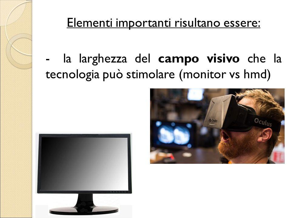 Elementi importanti risultano essere: -la larghezza del campo visivo che la tecnologia può stimolare (monitor vs hmd)