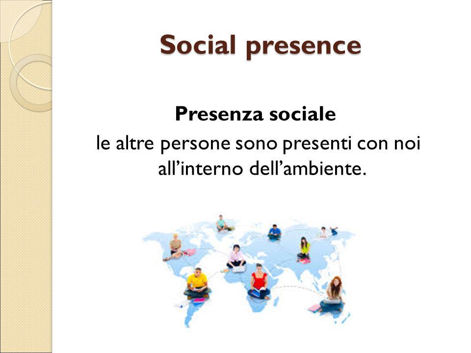 Social presence Presenza sociale le altre persone sono presenti con noi all'interno dell'ambiente.