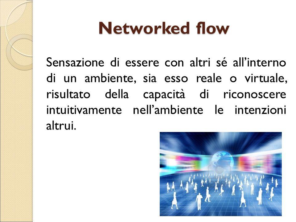 Networked flow Sensazione di essere con altri sé all'interno di un ambiente, sia esso reale o virtuale, risultato della capacità di riconoscere intuit