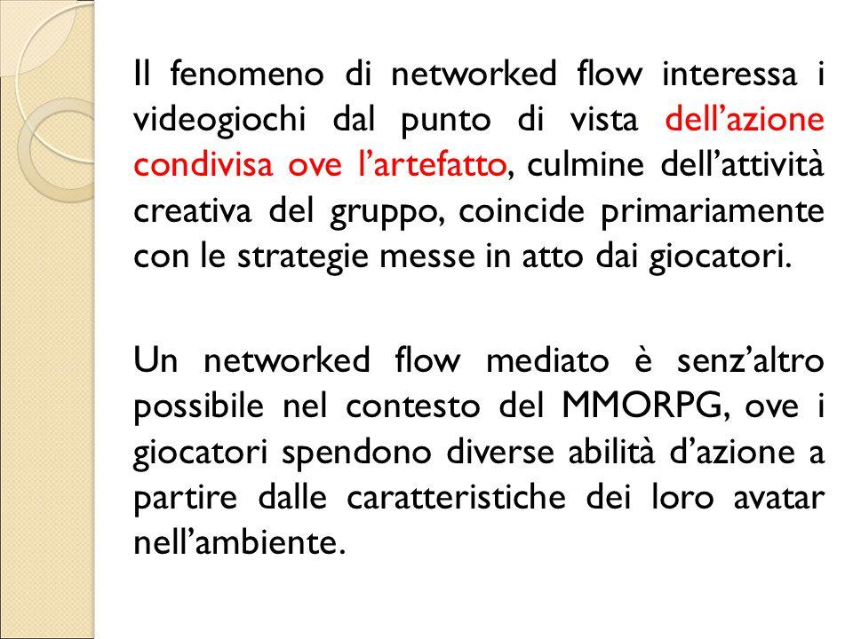 Il fenomeno di networked flow interessa i videogiochi dal punto di vista dell'azione condivisa ove l'artefatto, culmine dell'attività creativa del gru