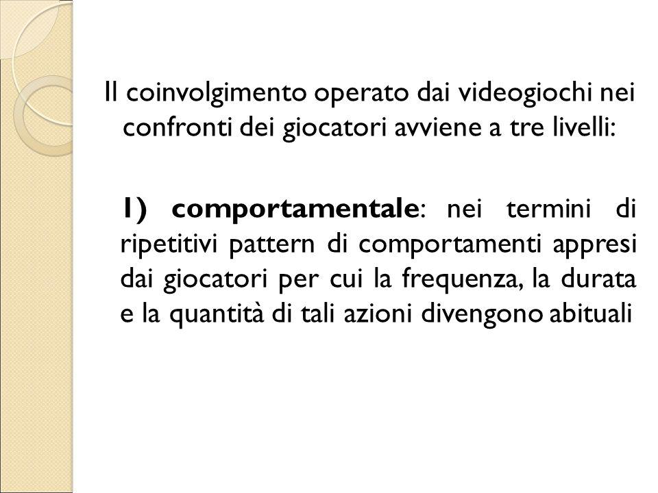 Il coinvolgimento operato dai videogiochi nei confronti dei giocatori avviene a tre livelli: 1) comportamentale: nei termini di ripetitivi pattern di