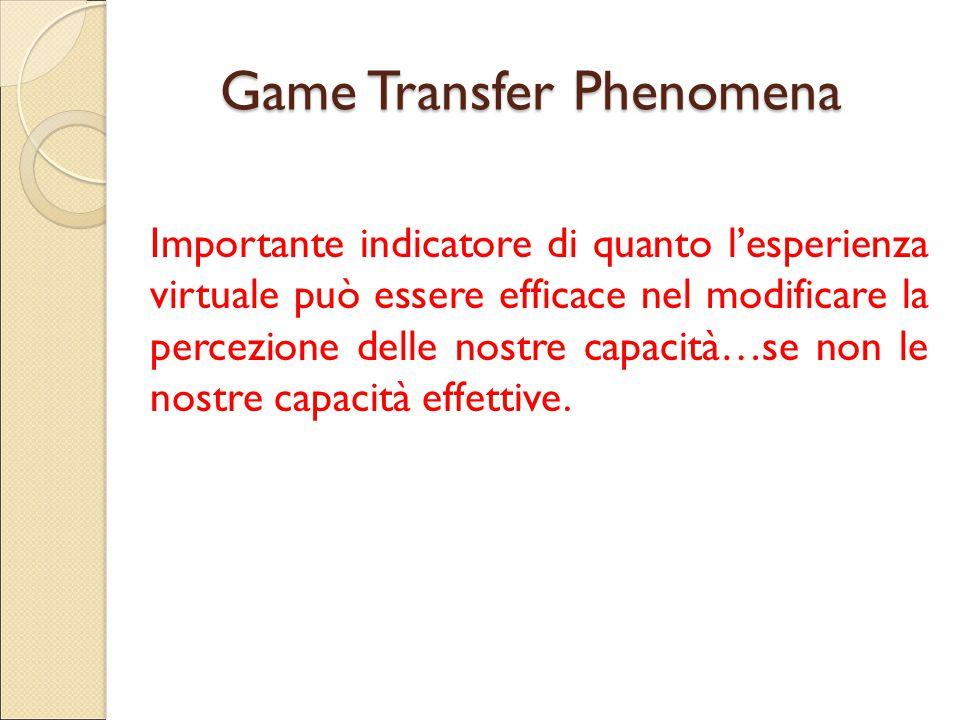 Game Transfer Phenomena Importante indicatore di quanto l'esperienza virtuale può essere efficace nel modificare la percezione delle nostre capacità…s