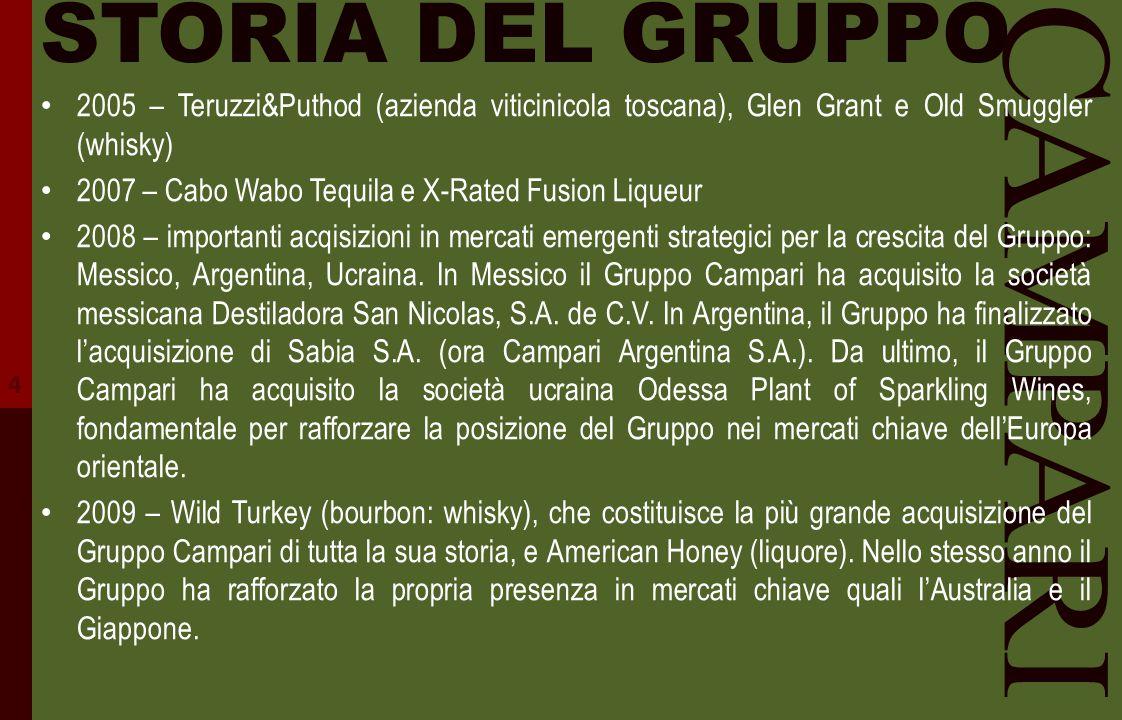 CAMPARI STORIA DEL GRUPPO 2005 – Teruzzi&Puthod (azienda viticinicola toscana), Glen Grant e Old Smuggler (whisky) 2007 – Cabo Wabo Tequila e X-Rated