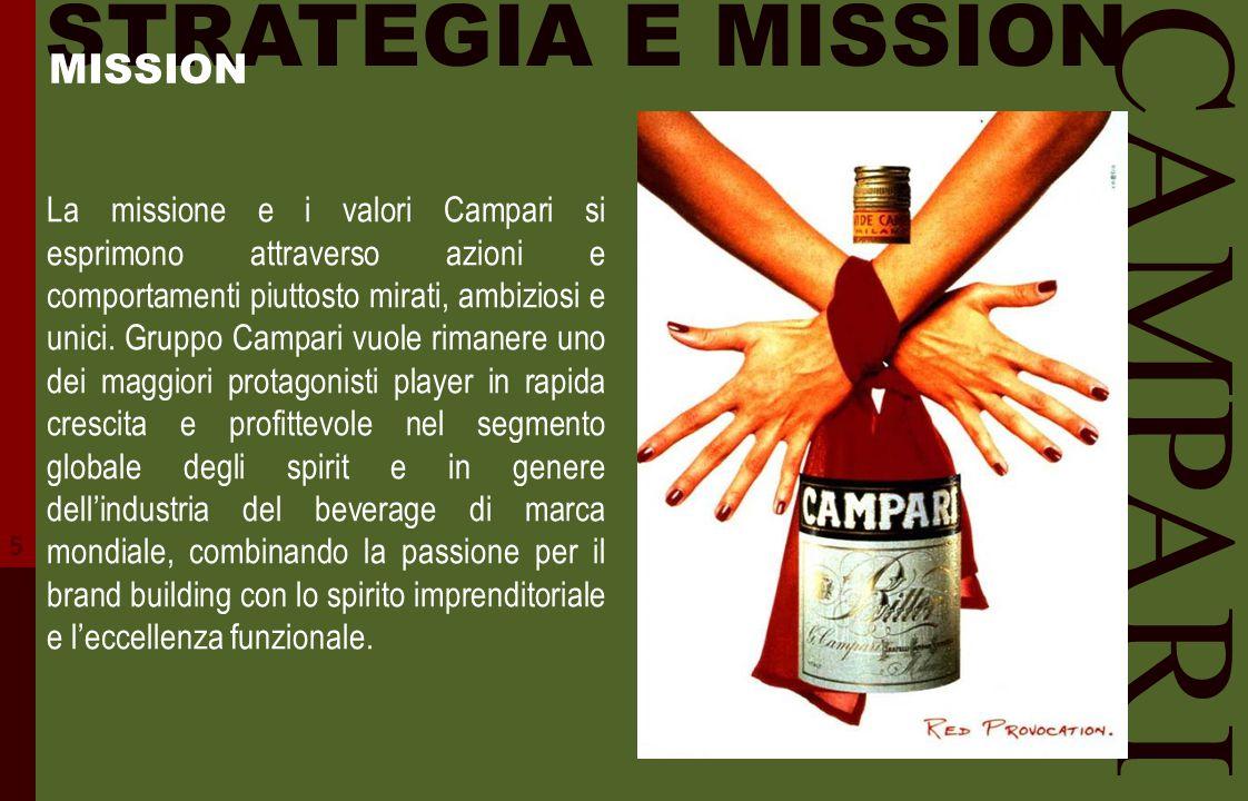 CAMPARI STRATEGIA E MISSION La missione e i valori Campari si esprimono attraverso azioni e comportamenti piuttosto mirati, ambiziosi e unici. Gruppo