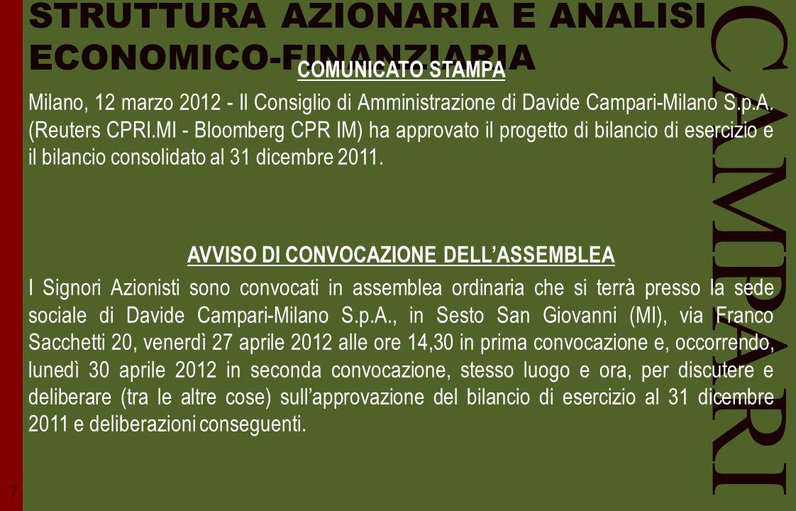 STRUTTURA AZIONARIA E ANALISI ECONOMICO-FINANZIARIA CAMPARI COMUNICATO STAMPA Milano, 12 marzo 2012 - Il Consiglio di Amministrazione di Davide Campar