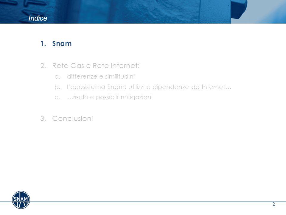 Indice 13 1.Snam 2.Rete Gas e Rete Internet: a.differenze e similitudini b.l'ecosistema Snam: utilizzi e dipendenze da Internet… c.…rischi e possibili mitigazioni 3.Conclusioni