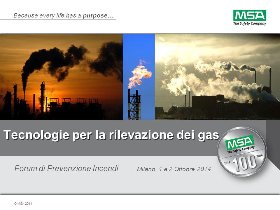 Because every life has a purpose… © MSA 2014 Tecnologie per la rilevazione dei gas Forum di Prevenzione Incendi Milano, 1 e 2 Ottobre 2014 1