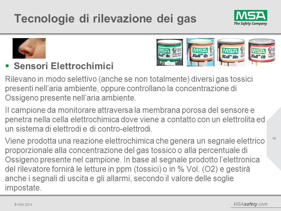 MSAsafety.com © MSA 2014 Tecnologie di rilevazione dei gas  Sensori Elettrochimici Rilevano in modo selettivo (anche se non totalmente) diversi gas t