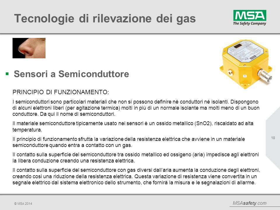 MSAsafety.com © MSA 2014 Tecnologie di rilevazione dei gas  Sensori a Semiconduttore 18 PRINCIPIO DI FUNZIONAMENTO: I semiconduttori sono particolari