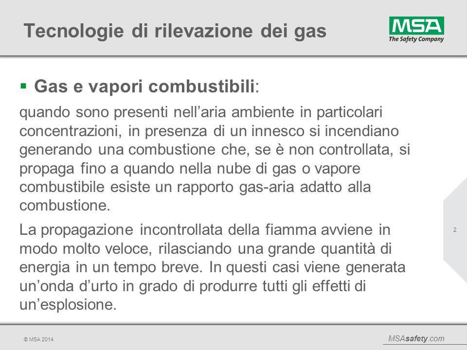 MSAsafety.com © MSA 2014 Tecnologie di rilevazione dei gas  Gas e vapori combustibili: quando sono presenti nell'aria ambiente in particolari concent