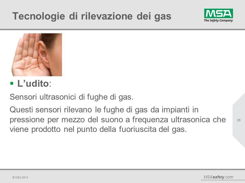 MSAsafety.com © MSA 2014 Tecnologie di rilevazione dei gas  L'udito: Sensori ultrasonici di fughe di gas. Questi sensori rilevano le fughe di gas da