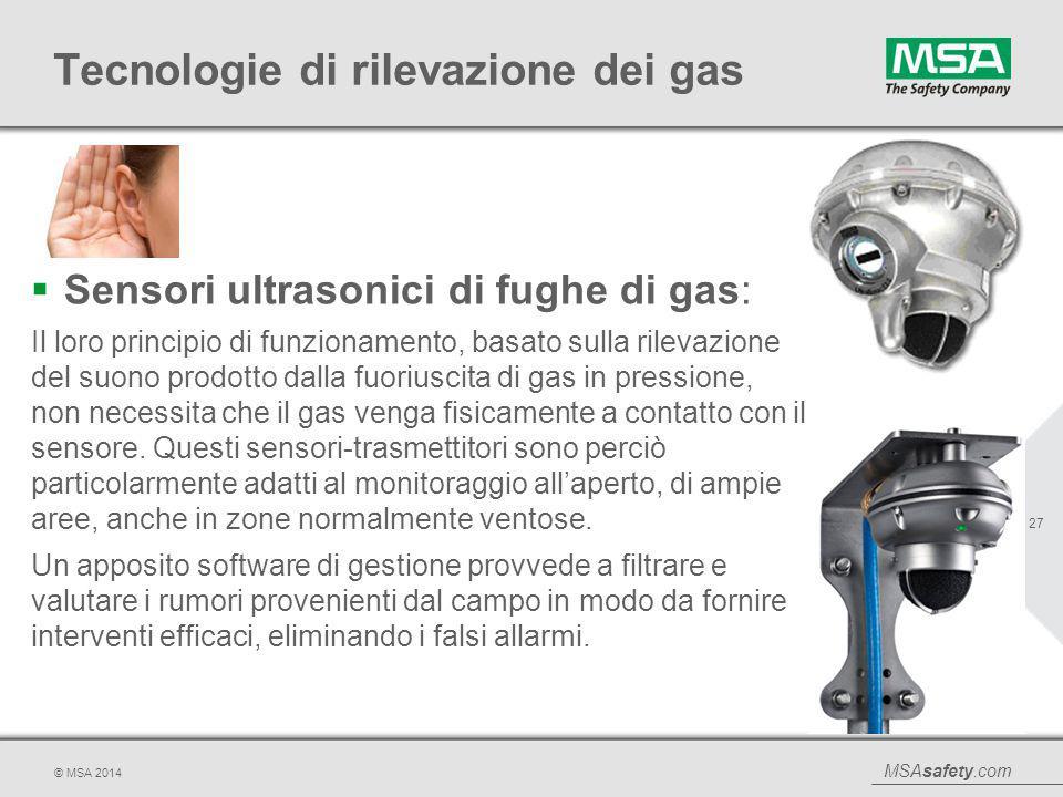 MSAsafety.com © MSA 2014 Tecnologie di rilevazione dei gas  Sensori ultrasonici di fughe di gas: Il loro principio di funzionamento, basato sulla ril