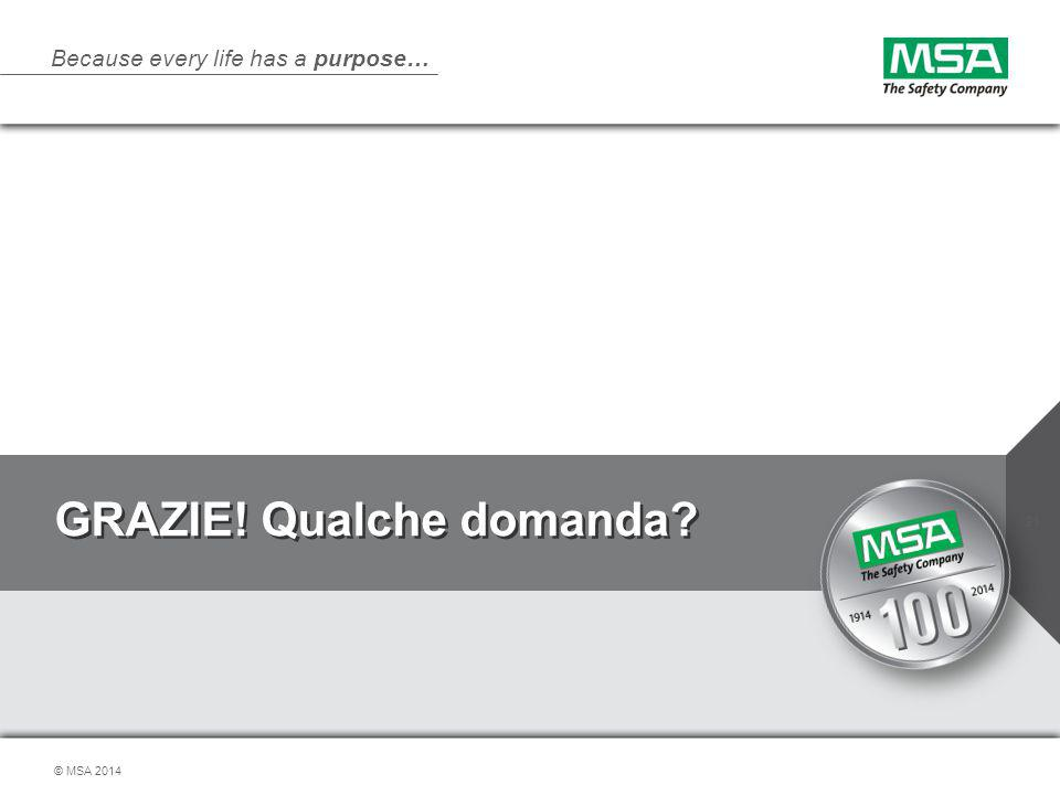 Because every life has a purpose… © MSA 2014 GRAZIE! Qualche domanda? 31