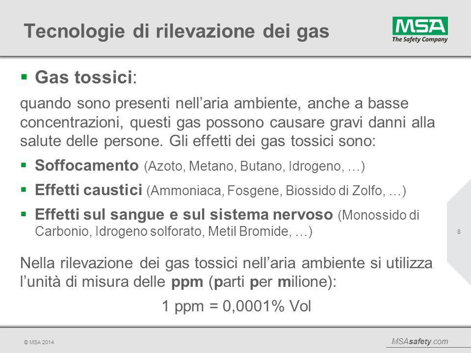 MSAsafety.com © MSA 2014 Tecnologie di rilevazione dei gas  Gas tossici: quando sono presenti nell'aria ambiente, anche a basse concentrazioni, quest