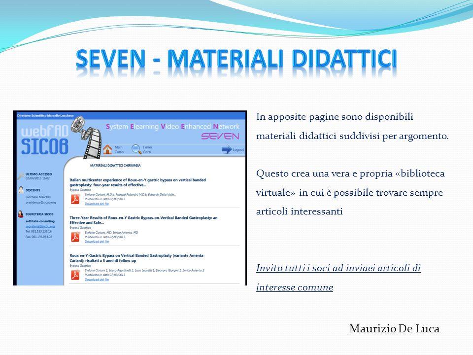 In apposite pagine sono disponibili materiali didattici suddivisi per argomento. Questo crea una vera e propria «biblioteca virtuale» in cui è possibi